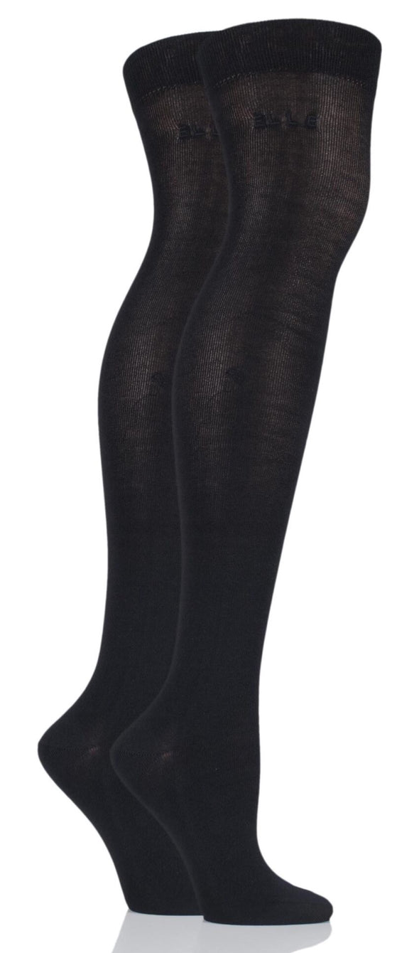2 Pair Elle Plain Black Bamboo Over The Knee Socks