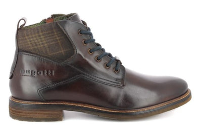 Bugatti Brown Men's Boots With Tweed Detail