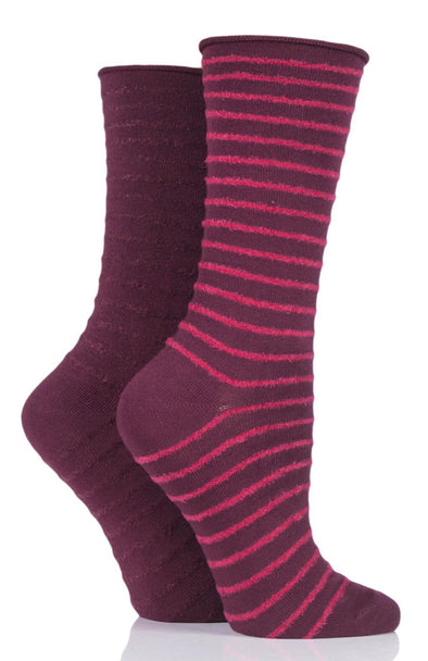 2 Pair Elle Dark Ruby Feather Stripe Socks