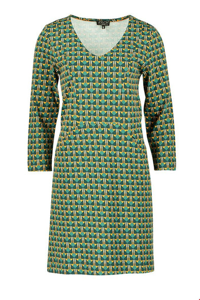 Zilch Deco Forest V Neck Dress