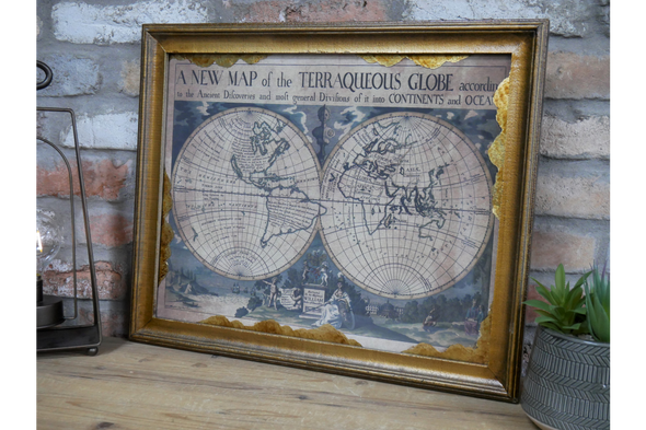 Dutch Imports World Map in Frame