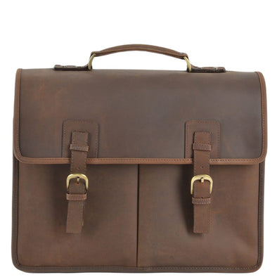 Ashwood Leather Hammersmith Gareth Mud Triple Gusset Brown Briefcase