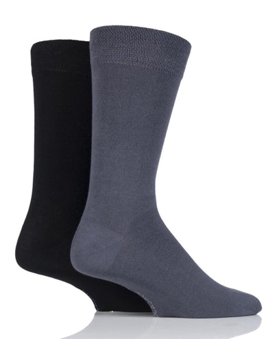 2 Pair Sockshop Grey Plain Bamboo Socks