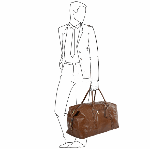 Ashwood Leather Chelsea Chestnut Large Travel Holdall