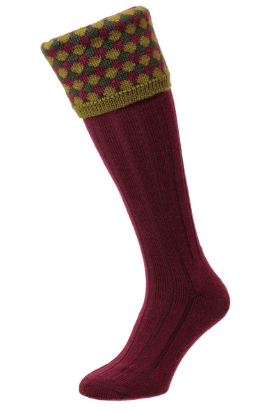 HJ Hall Hadleigh Wine Diamond Harlequin Shooting Socks HJ627