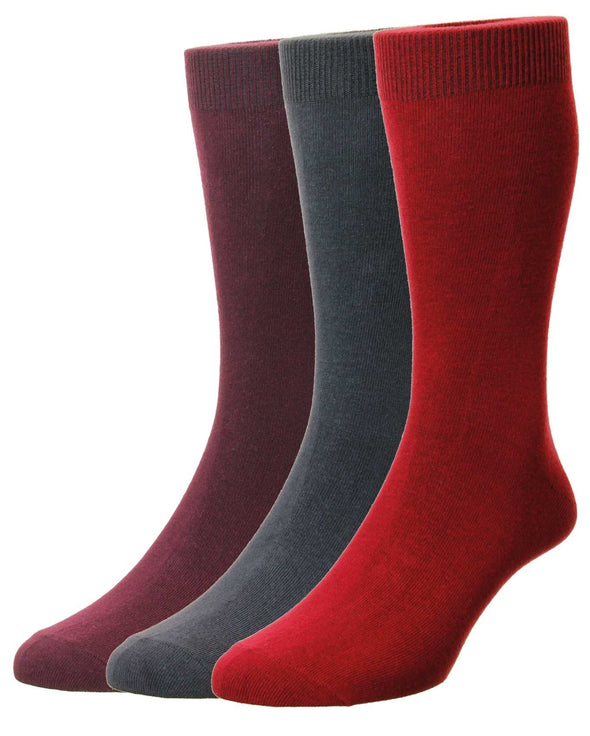 HJ Hall Classic Plain Wine/Iron/Crimson Cotton Socks 3 Pack HJ7116/3