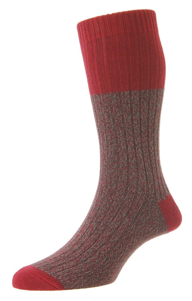 HJ Hall Pinewood Crimson Chunky Cotton Socks HJ7183
