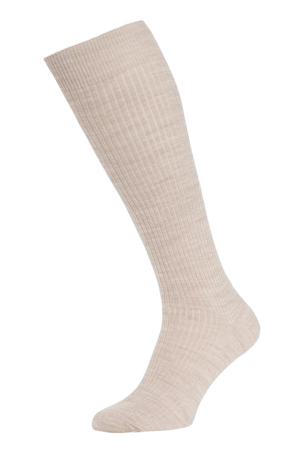 HJ Hall Immaculate Wool Long Socks with Lycra in Oatmeal