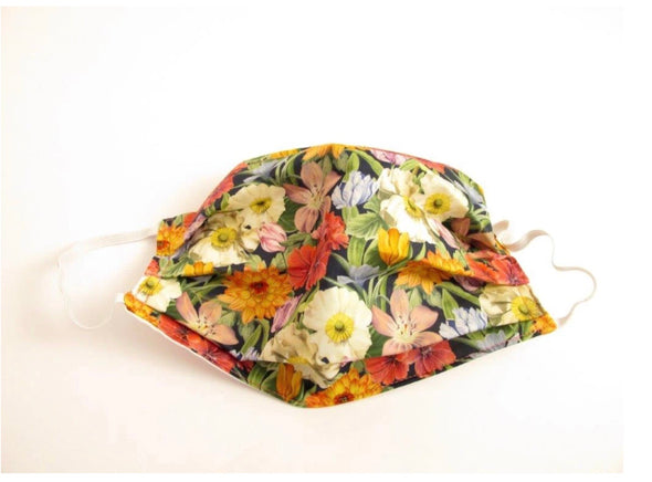 Van Buck Melody Blooms Pleated Face Covering / Mask Made with Liberty Fabric