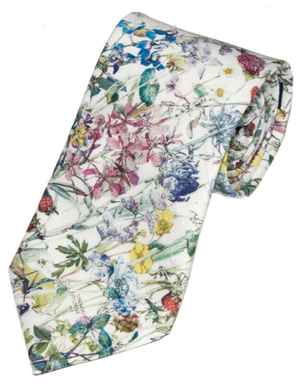 LA Smith Blue Floral Tie Made with Liberty Fabric