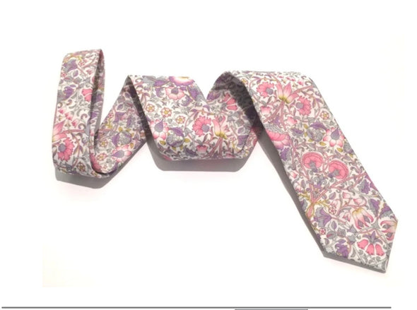 Van Buck Lodden Pink Cotton Tie Made With Liberty Fabric