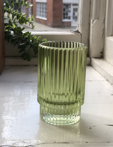 Light and Living Green Glass Tea light Holder