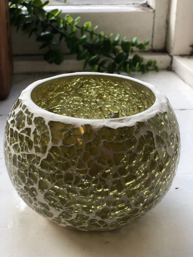 Light and Living Gold Speck Tea light Holder