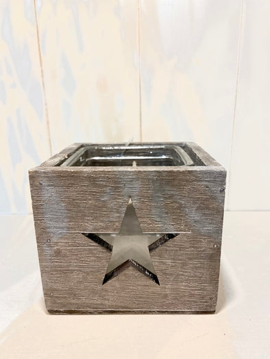 Clayre & Eef wooden star candle holder