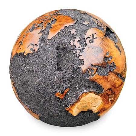 Makasi Spinning Teak Globe With Black Volcanic Sand 40cm Large