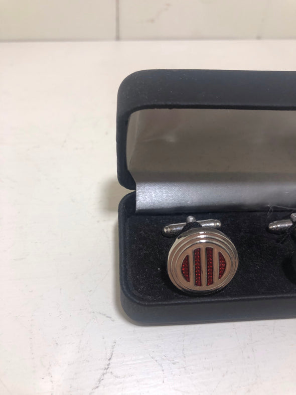 Sophos Circular Red and Silver Cufflinks