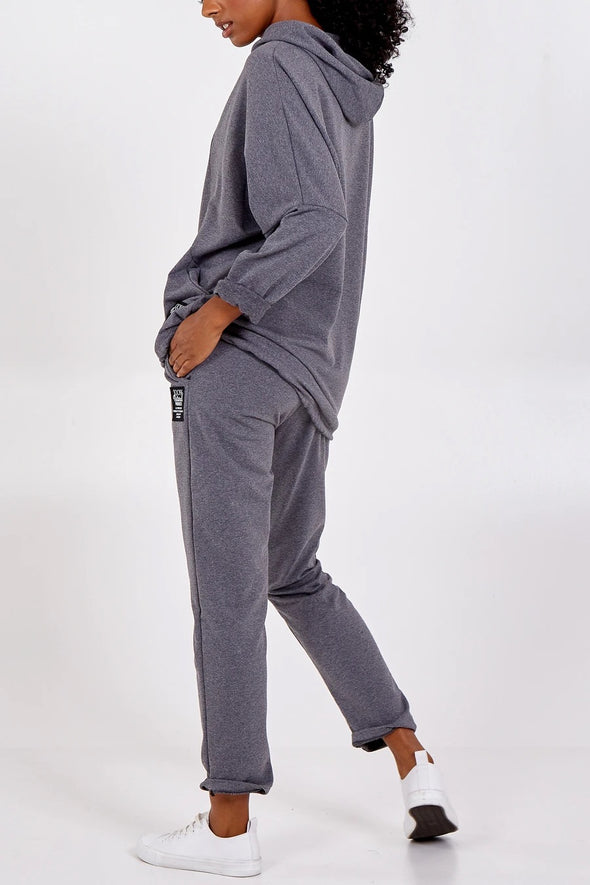 Grey Cotton Hooded Loungewear Set