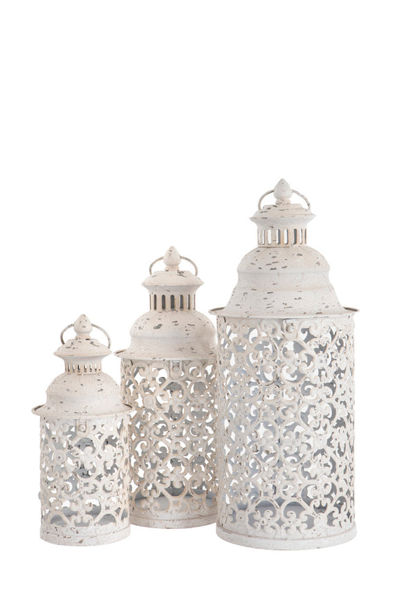 London Ornaments Nettuno Medium White Metal Lantern