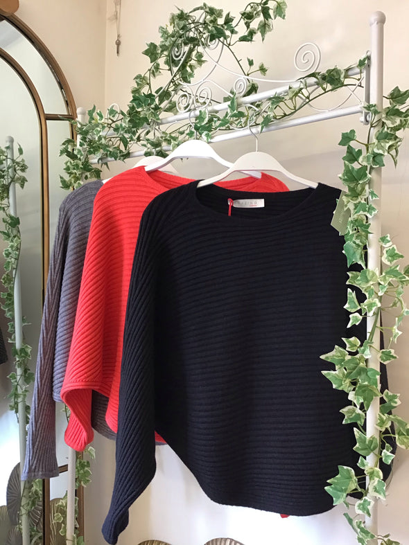 Amazing Woman Batwing Cross Ribbed Black Jumper