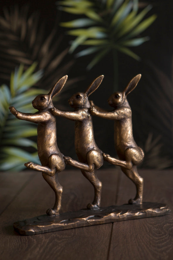 London Ornaments Rabbits Marching Statue