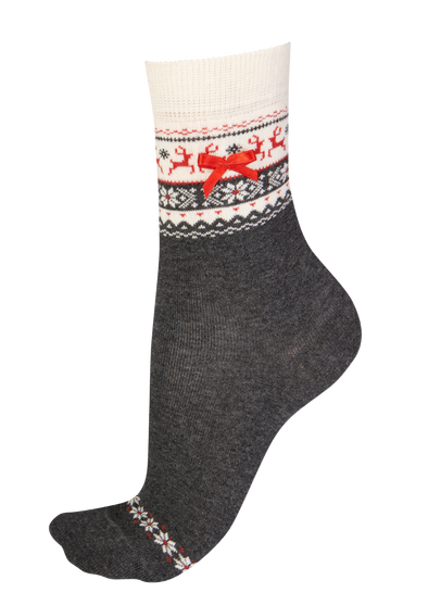 Pretty Polly Grey Fairisle Socks