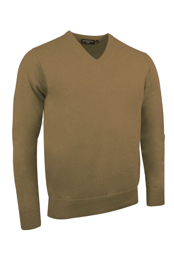 Glenmuir V-Neck Driftwood Lambswool Sweater