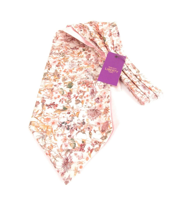 Van Buck Wild Flowers Pink Cotton Cravat Made with Liberty Fabric