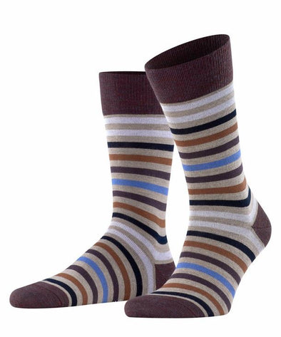 Falke Tinted Striped Mens Socks- Wine