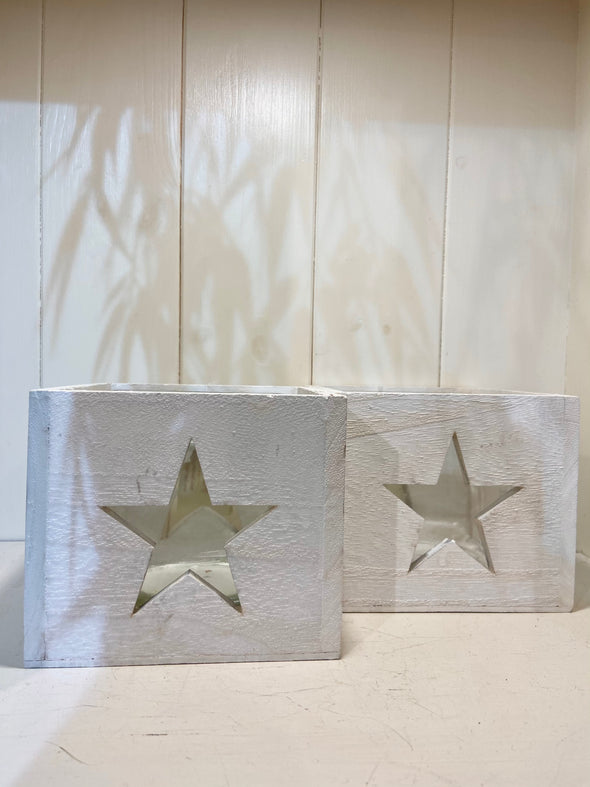 Clayre & Eef white wooden star candle holders