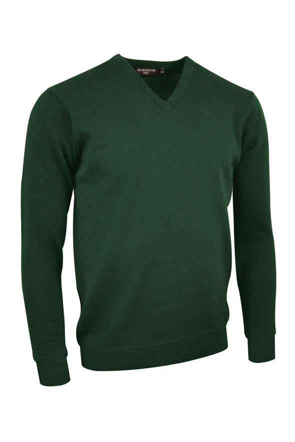 Glenmuir V-Neck Seaweed Lambswool Sweater