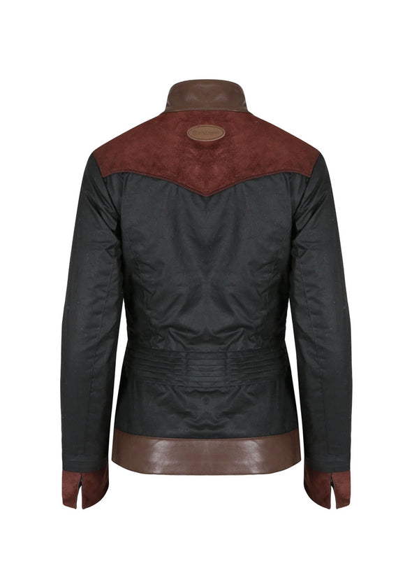 Welligogs Roxy Contrast Fitted Wax Windproof Jacket-Chocolate