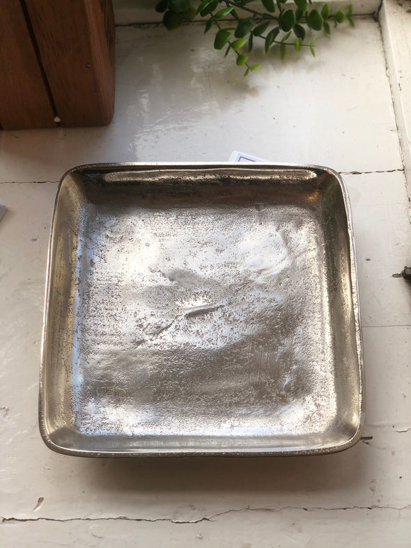 Light and Living Square Nickel Dish