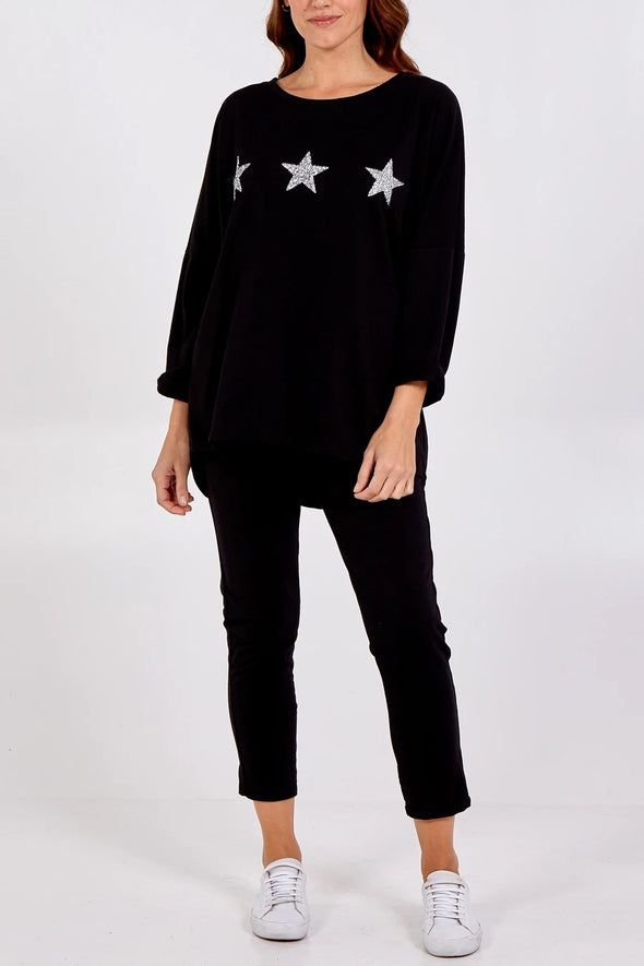 Black Glitter Stars Loungewear Set