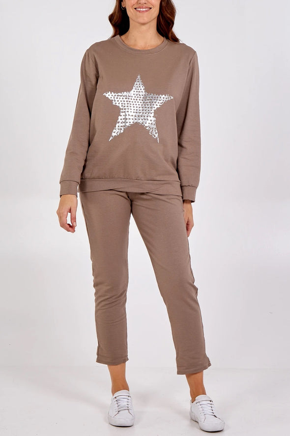 Brown Foil Star Loungewear Set