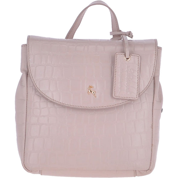 Ashwood Leather Ladies Small Crocodile Print Blush Backpack