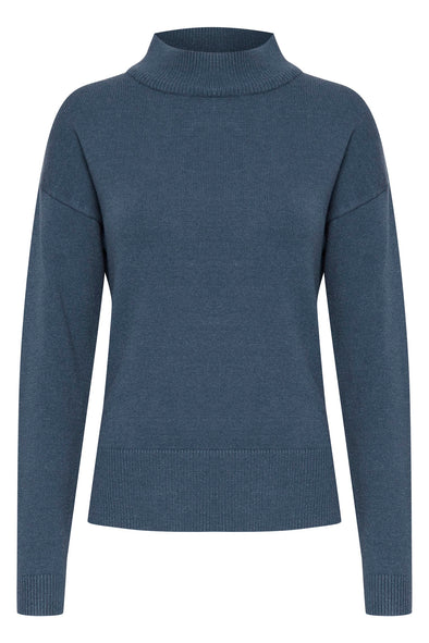 B Young Bynonina Blue Turtle Neck Jumper