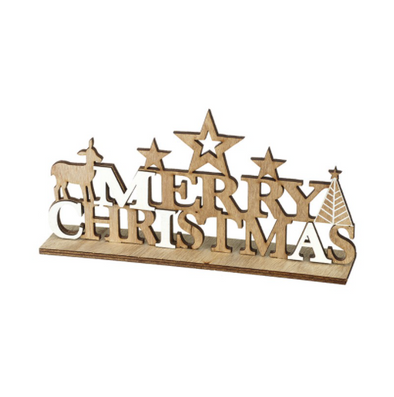 Wooden merry christmas sign with stars