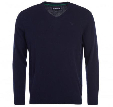 Barbour V-Neck Lambswool Navy Jumper