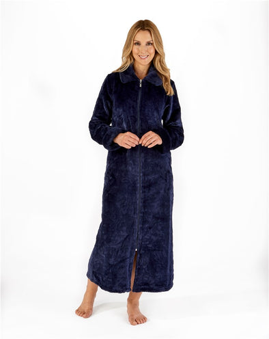 "Slenderella Indigo Faux Fur Collar 50"" Zip Housecoat"