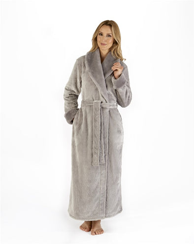 "Slenderella Grey Patterned 52"" Wrap Housecoat"