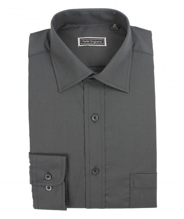 Peter England Standard Fit Non Iron Plain Shirt in Black