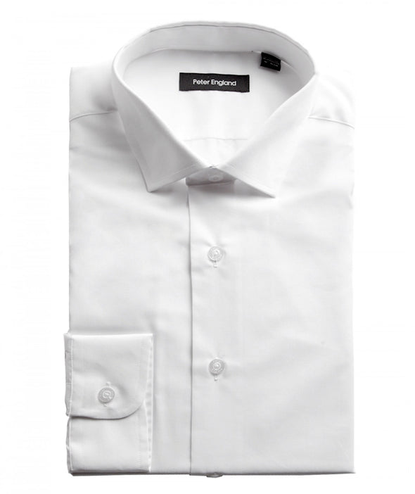 Peter England Mens Tailored Fit Cotton Rich Plain White Shirt