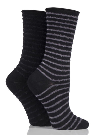 2 Pair Elle Slate Black Feather Stripe Socks