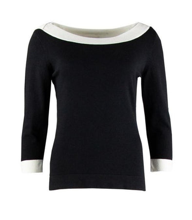 Zilch Black and Stone Boatneck Sweater