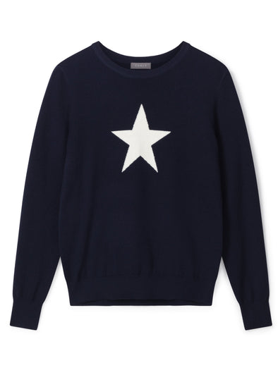 Chalk Navy & White Star Jumper