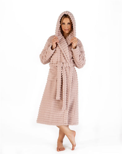 "Slenderella Pink Teddy Bear Striped Fleece Hooded 46"" Wrap Housecoat"