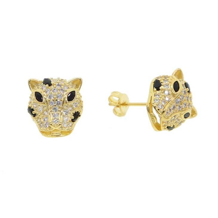 Golden Leopard Stud Earrings - Sophie