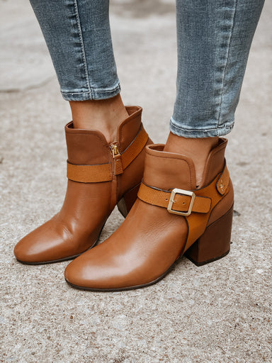 Naked Feet Leilani Chunky Heel Ankle Boot Shoes - Booties - Heeled Booties - Sophie