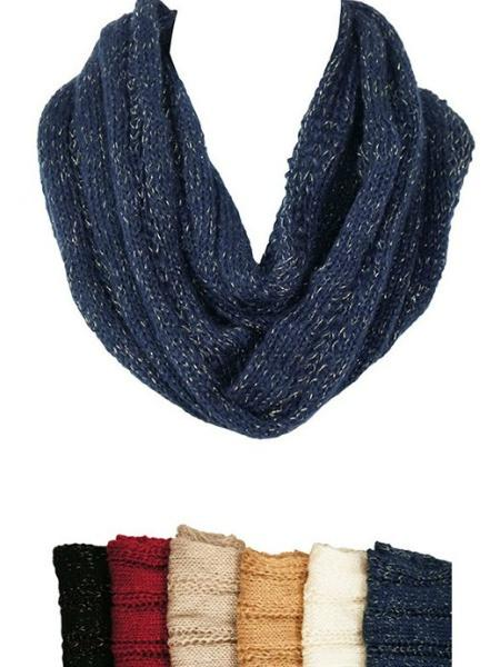 Metallic Thread Knit Scarf