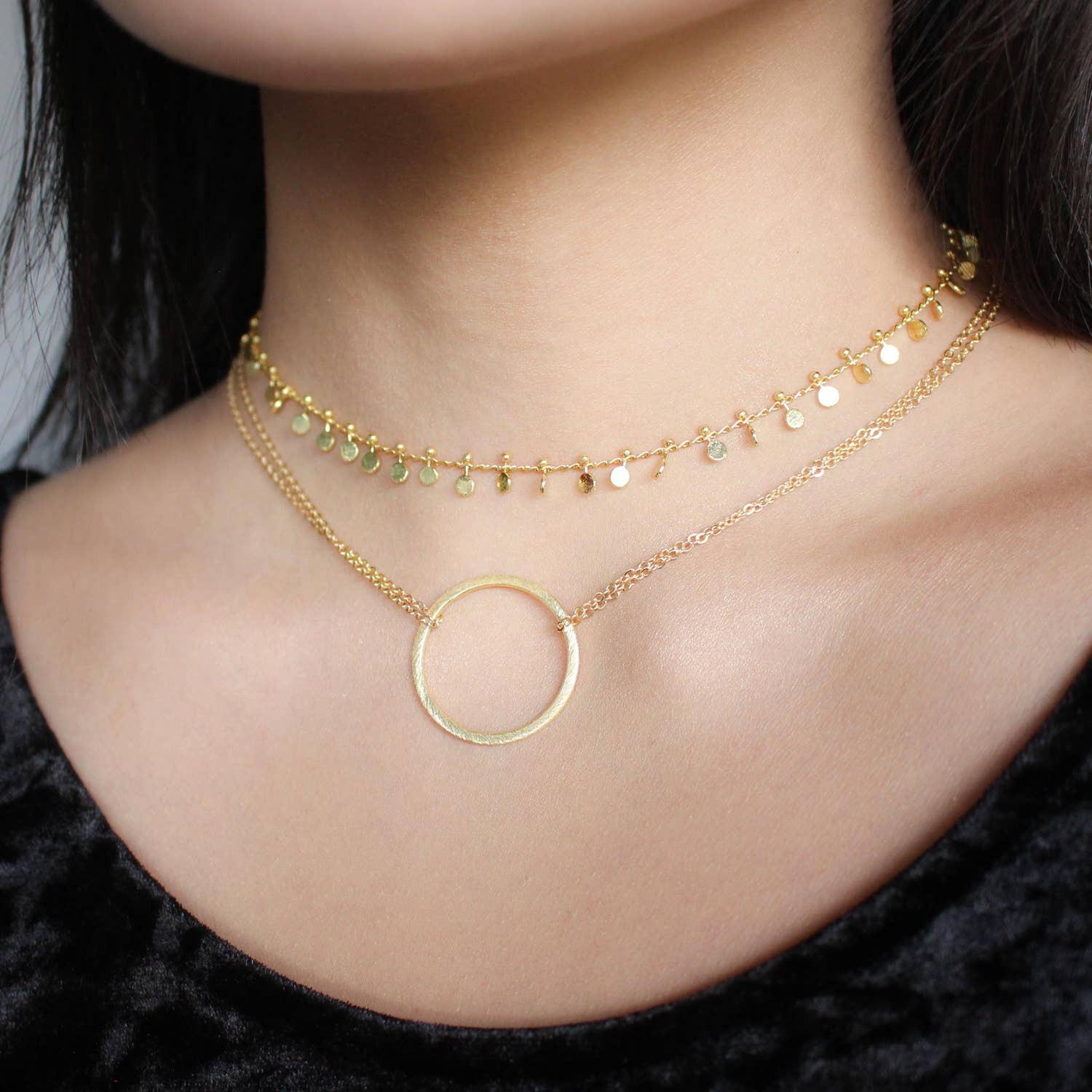 Nikki Smith Designs 14K Double Chain Circle Choker Accessories - Jewelry - Necklaces - Sophie